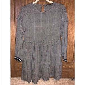 Zara plaid long sleeve ruffled babydoll dress